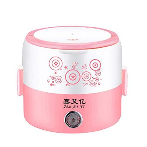 Elektrische Lunchbox Multifunktions-Isolationsheizung Edelstahl Heißer Reis Artefakt Mini Student Kleiner Reiskocher 220V (Farbe : 2 layers pink)
