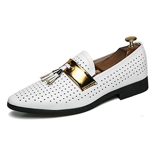 Jingkeke Herren Classic Work Dress Oxfords for Herren Hollow Synthesis Leder Quaste Business Loafer Schuhe Antislip Rubber Sole Ins Auge fallend Mode (Farbe : Weiß, Größe : 38 EU) Lace Oxford Pumps