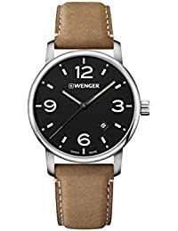 Wenger Men's 'Classic' Swiss Quartz Stainless Steel and Leather Casual Watch, Color:Brown (Model: 01.1741.117)
