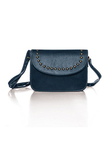 sourcingmap® Women Adjustable Strap Stud Decor PU Crossbody Bag Red Blue (Cross-body-stud)