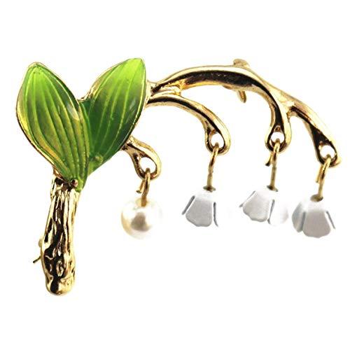Vektenxi Hochwertige Muguet Blumenbroschen Pins Weihnachtshochzeitsgeschenk für Frauen