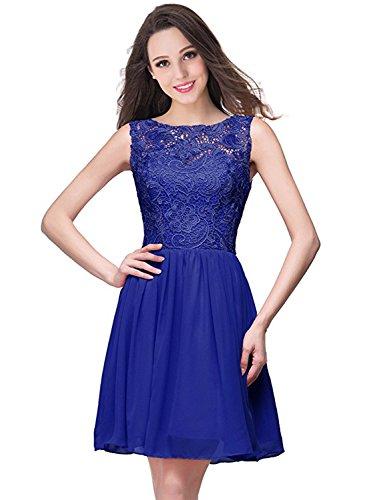Azbro Women's Short Cocktail Lace Panel Chiffon Dress Royal Blue