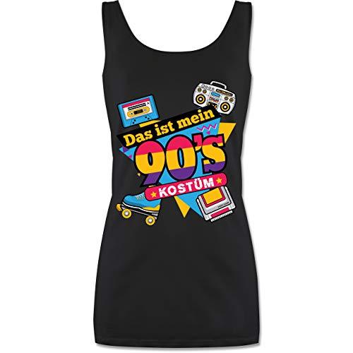 Shirtracer Karneval & Fasching - Das ist Mein 90er Jahre Kostüm - S - Schwarz - P72 - lang-geschnittenes Tanktop für Damen