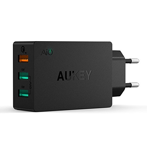 AUKEY Quick Charge 2.0 Cargador USB de Pared Dual Puerto 42W 5V/4,8A con Tecnología AiPower para iPhone, iPad, HTC, LG, Motorola y otros Dispositivos USB & Cable Micro USB(1m)(Negro)