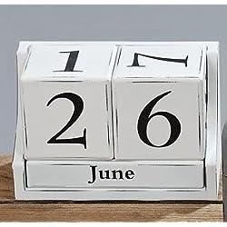 Boltze Calendario de dados, de madera MDF, Blanco NR 8417700