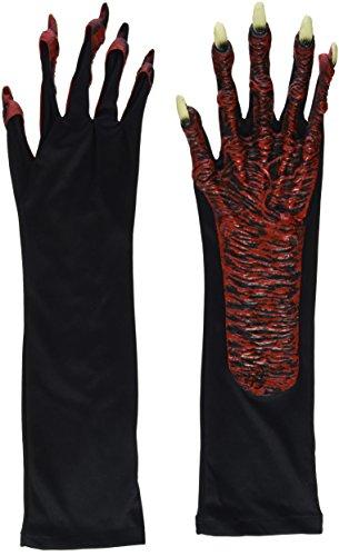Heitmann Deco Halloween - Teufels-Handschuhe rot mit Krallen - für Erwachsene - Ideal für Karneval und ()