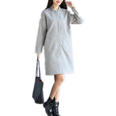 WDYI secciones abrigo de invierno y largas de lana de abrigo era delgada yardas gran cuello de la chaqueta de béisbol , gray , l