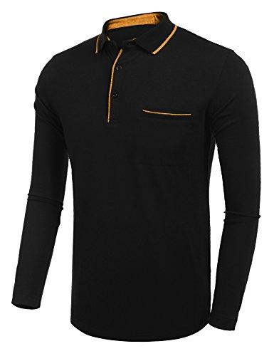 Burlady Tshirt Henleyshirt Langarmshirt mit Knopf Basic Longsleeve Shirt  mit Henley Ausschnitt Herren 2 in 1 ...
