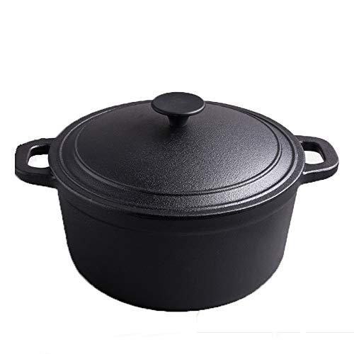 Dutch Oven aus Gusseisen, 3,5-Liter-Kochtopf, ohne Beschichtung mit dicht schließendem Deckel und griffigem Griff, zum Braten, Kochen, Backen, Braten