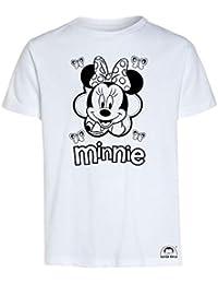 Idea Regalo per Bambini - Maglietta t-Shirt da colorare con Colori Inchiostro Speciale per Tessuti - Minnie e Topolino Originale educativa