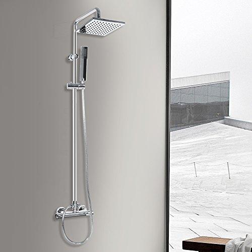 Set de ducha termostato, termostático para lluvia cuadrada, deslizador de pared para baño mezclador de ducha cromado con doble cabezal para bañera