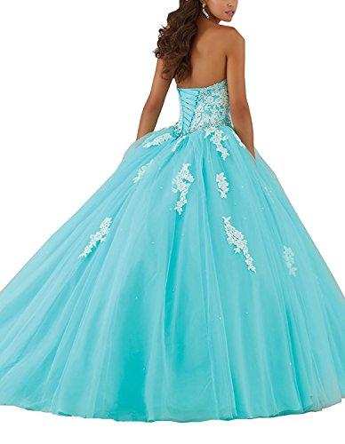 Carnivalprom Damen Abendkleider Appliques Ballkleid Lange Quinceanera Kleider Festzug Kleid Aqua