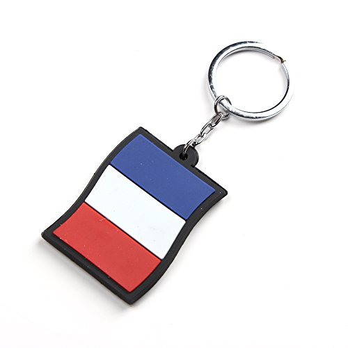 10 x France Drapeau Caoutchouc Porte-clés (10 x French flag Keyrings)
