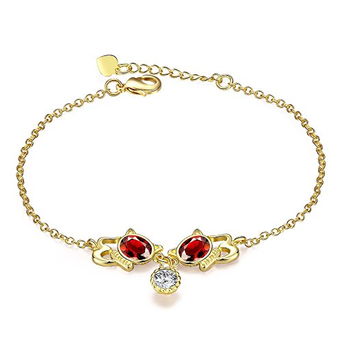 Mujer Romántica Pulsera Rojo Resina Pulsera de gatos 24K chapado en oro pulsera de cadena de cuerpo joyas