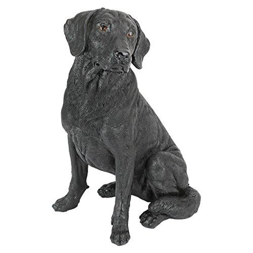 Design Toscano Schwarzer Labrador Retriever Hund Gartenstatue, Polyresin, schwarz, 38 cm -