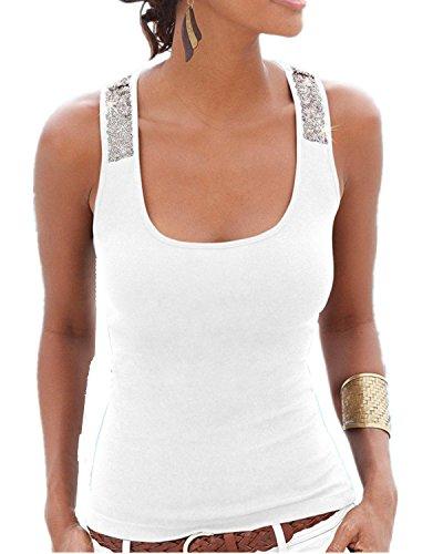 YOGLY Damen Damen Pailletten Shirt Träger Top Weste Top Oberteil Ärmellos  TShirt Tanktop Blouse Weiß