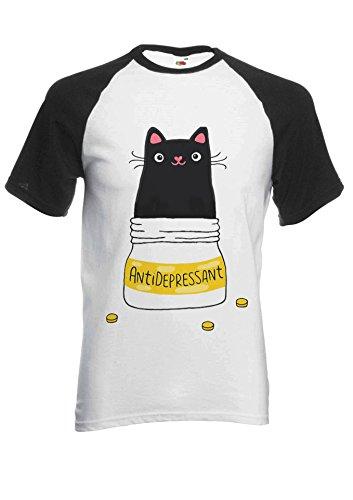 Cute Cat Kitten Antidepressant Novelty Black/White Men Women Unisex Short Sleeve Baseball T Shirt-XL -