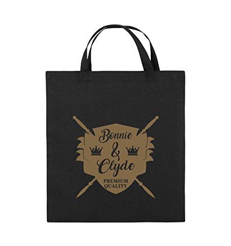 Comedy Bags - Bonnie & Clyde RITTER - MOTIV - Jutebeutel - kurze Henkel - 38x42cm - Farbe: Schwarz / Silber Schwarz / Hellbraun