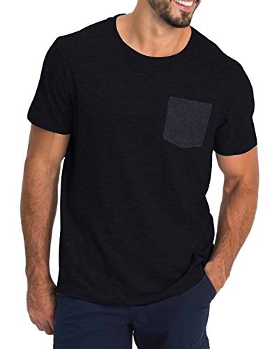 MODCHOK Herren T-Shirt Kurzarm Shirt Pockekt Tee Rundhals Ausschnitt Tops Regular Fit 1 Schwarz(mit Pocket) Medium -