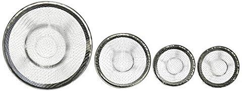 HB Housewares Stainless Steel Sink Strainer Set- 4 Pieces, Fits Most Kitchen Sinks, Bathroom Sinks,Shower Drains by HB Housewares
