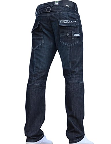 BNWT NEW MENS ENZO JEANS BLUE DESIGNER BRANDED STRAIGHT WASHED ALL WAIST & SIZES Dark Wash 34W X 32L