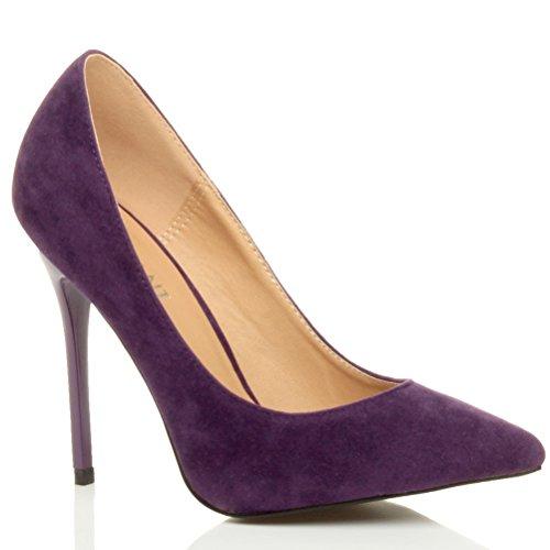 Damen Höher Absatz Kontrast Stilettos High Heels Spitz Gepflegt Fesch Arbeit Pumps Schuhe Purpur Violett Wildleder