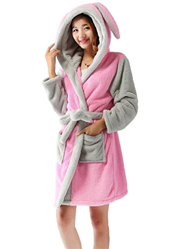 Bademantel Tier saunamantel Morgenmantel mit Kapuze pyjama kostüm Rabbit S (Kuh-mädchen Halloween)