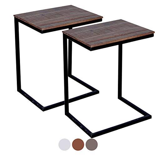 Couchtische Atlanta (casamia Couchtisch 2er Set Wohnzimmer-Tisch-Set Atlanta, Metall-Gestell Altsilber oder schwarz Farbe braun - Bassano)