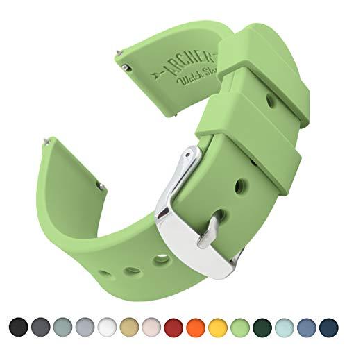 Archer Watch Straps Silikon Uhrenarmband mit Schnellverschluss - Grüner Tee, 18mm -