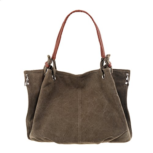 AiteFeir Canvas Damen Vintage Umhängetasche Schultertaschen Beuteltasche Handtasche Multi Reißverschluss-Tasche (Armee-Grün) (Multi Canvas Schuhe)