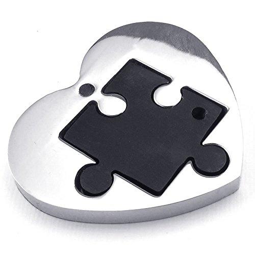 KONOV Schmuck 2 Freundschaftsketten Herz Puzzle Edelstahl Partner-Anhänger mit 45cm und 55cm Kette, Halskette für Damen & Herren, Schwarz Silber
