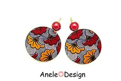 Boucles d'oreilles motif wax Afrique rouge jaune