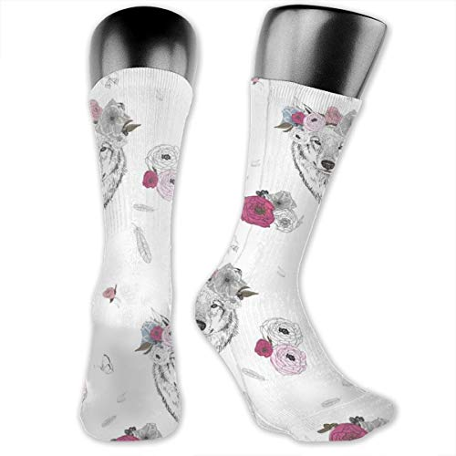 Girl Wolf With Flowers Men's & Womens Athletic Full Crew Socks Running Gym Compression Foot (Herren Wolf Hunter Kostüm)