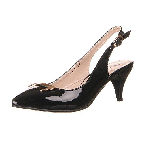 Damen Schuhe, 50710, Pumps, Slingbacks MIT Gold DEKO, Synthetik in Hochwertiger Lacklederoptik, Schwarz, Gr ()