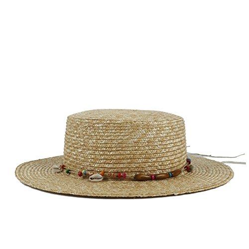 Frauen-Boater-Sonnenhut für Dame Summer Beach Flat Hawai Sunbonnet-Schweinefleisch-Torten-Hüte Kopfbedeckungen (Farbe : Natürlich, Größe : 56-58cm) ()