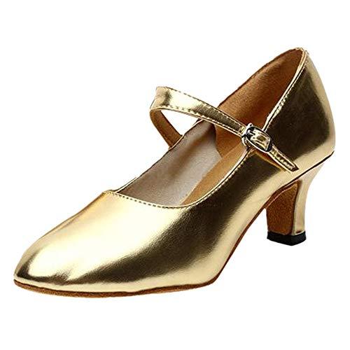 Dorical Damen Latein Tanzschuhe/Klassische Übergrößen Ballsaal Sandale/Soziale Partei Tango Tanzschuhe/Walzer Tanzschuhe für Halloween Performance-Schuhe Valentinstag Schuhe (Gold,38 EU)