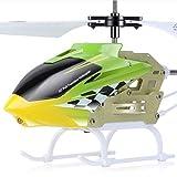 LPRWEC Sima Aviones de Control Remoto inalámbrico W5 Súper Resistencia Helicóptero niño Rompecabezas de Vuelo eléctricos de Juguete 3 Canales Gyro y Luces LED helicóptero