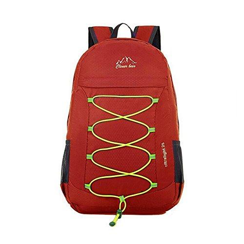 SYSI 31*46*12CM Ultra-leicht Wasserdichte Faltbar Rucksack Freizeit Reise Tasche Bergsteig Backpack Sporthauttasche Dunkelrot