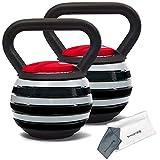 Sport24 Kettlebell de Hierro Fundido Ajustable con Toalla + agitador de proteínas Botella-para Brazos Piernas Núcleo Músculo Ejercicio Cuerpo Cuerpo Fuerza Peso Gimnasio 5Kg 10kg 12kg 18kg(2X Rojo)
