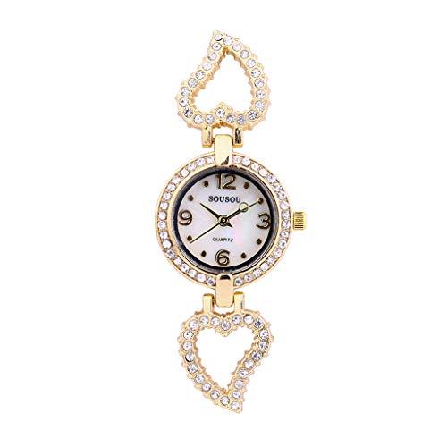 Uhren Willow-Form Diamant Armband Armbanduhr Geschäfts Beiläufig Analog Quarz Uhren Minimalistisch Strass Uhr Kleines Zifferblatt Damenuhren ()