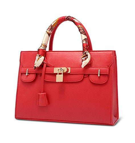 YANX signora Fashion PU Platinum signore pacchetto borsetta tracolla Tote (31 * 22 * ??9,5 centimetri) , red