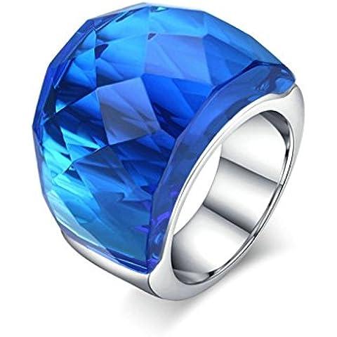 Daesar Joyería Anillo Mujer de Acero Plata para Mujer BodaRing High Quality Azul Glass Rhinestone