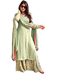 Ethnic Wings Women's Georgette Embroidered Semi-Stitched Salwar Suit Palazzo Set (SHIV_ER118119_Pista_Free Size)