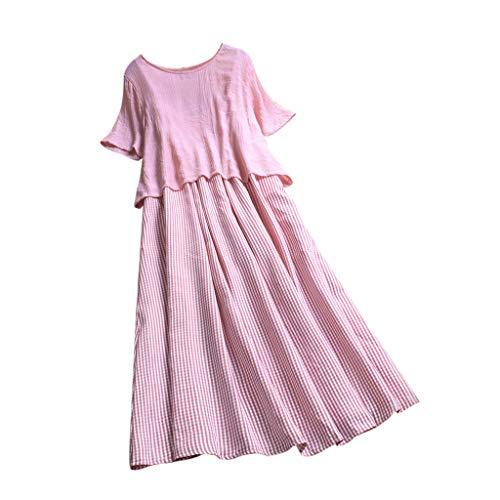 Lomsarsh Frauen Casual Kurzarm Maxi-Kleid - Gestreifte Zwei Stücke Oansatz Kurzarm Plus Size Casual Kleid Lose Lange Kleider - 26 Plus Petticoat Krinoline