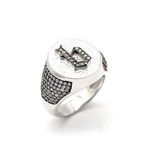 Initial Ring - Buchstaben Ring - Individueller Ring mit Zirkonia Steinen - Siegelring