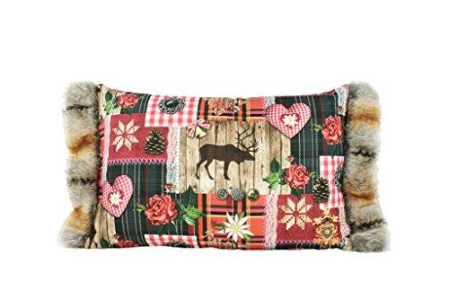 Traumkissen Dekokissen Kissenhülle Zierkissen Weihnachtskissen NOELLE mit Fellstehsaum aus Kunstfell 40x60 cm