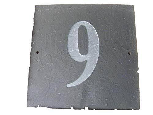 NUMÉRO 9 NATUREL GRIS ARDOISE NUMÉRO DE MAISON 15 x 15 CM PROFONDEUR PLAQUE GRAVÉE DE SURFACE NATURELLES UNE CRÉMAILLÈRE CADEAU (150 x 150 MM (N ° 9)