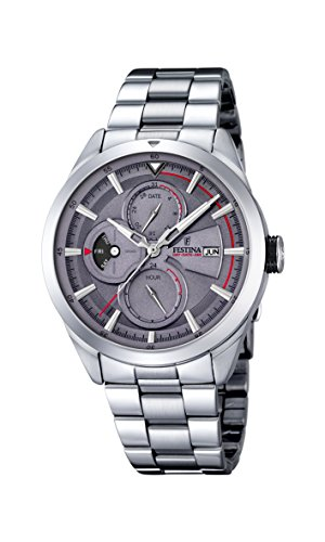 Festina Men's Quartz Watch with Grey Dial Analogue Display and Silver Stainless Steel Bracelet F16828/3