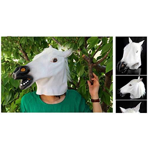 White Horse Kostüm - FANCYKIKI Halloween CreepyParty Neuheit Kostüm Party Kopf Maske Brown Horse Cosplay Festival Dekoration Lieferungen Lustige Maske (Farbe : White)