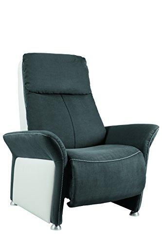City Salon 3760272810437 Variance Fauteuil Manchette Porteuse Relax Manuel Microfibre/Cuir Titane/Blanc 89 x 169 x 112 cm